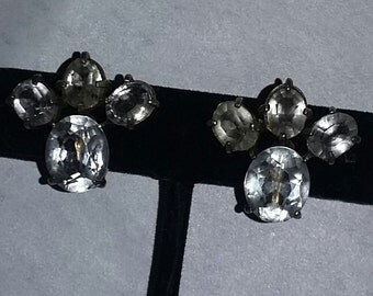 Vintage Art Deco Era 40's Rare Sterling Silver Rock Crystal Pools of light Earrings Gorgeous