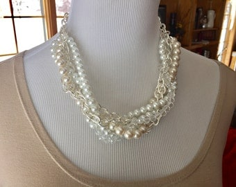 Ivory and white pearl multi strand necklace with fancy silver chain, bridal jewelry, wedding jewelry, bridesmaid necklace