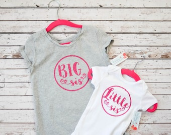 Big Sis and Little Sis Tee and Bodysuit Pink Glitter