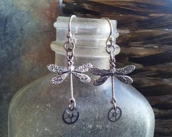 Steampunk Silver Earrings Dragonfly Watch Gear Earrings