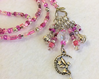 fairy lover's stitch marker necklace, jewelry for knitters, whimsical stitch marker jewelry, gift wrapped