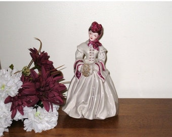 1950s Florence Ceramics Vintage Brunette DELIA Figurine w/ Grey Dress / Maroon Trim & Gold Muff / Pasadena, California