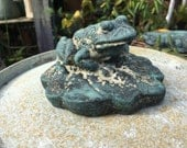 Cement Frog on a Lily Pad Statue...Hand Painted... Miniature...Animal...Country Living...Garden Statuary...Verdigris Weathered Patina...Toad