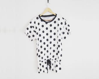 Vintage 90s Polka Dotted Dress. Short Sleeve Shirt Dress with Waist Tie. Drop Waist Mini Dress. Tunic. 90s Style. Hipster.