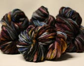 Hand Spun Thick and Thin Yarn Bulky Wool Slub Hand Dyed tts(tm) Variegated SAF17002