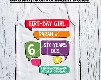 Birthday Tee birthday girls birthday raglan baseball regular tee shirt style tee shirt birthday girl 1, 2, 3 or beyond Conversation Boxes