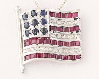 American Flag Pendant Necklace - 14k Gold USA Rubies Sapphires Diamonds .99ctw N8472