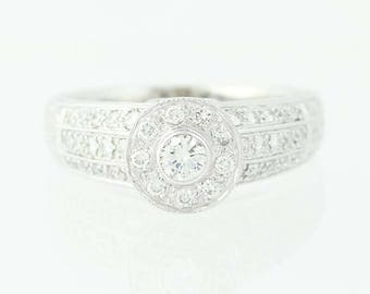 Diamond Halo Engagement Ring - 18k White Gold Milgrain Round Cut .60ctw Unique Engagement Ring N9198