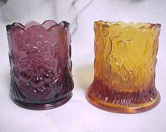 1960s L G Wright Purple Cherry Toothpick Holder & Amber Glass Tree Trunk Made in Japan Toothpick, Vanity Q Tip or Desk Top Paper Clip Holder