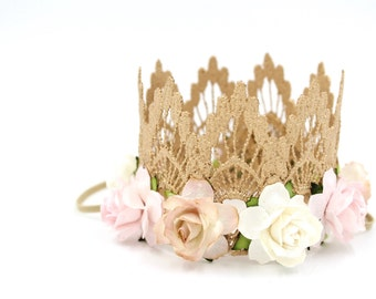 Ready to Ship || mini ROSE GOLD Sienna crown with ivory, blush, + palest pink flowers || lace crown headband included || photography prop