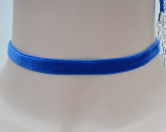 ROYAL BLUE Classic Plain 10mm Velvet Ribbon Choker Necklace - jv... lots more colours to choose from and all made to order :)