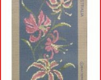 Lilliums (Lilies) On Black Needlepoint Canvas