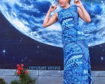 SALE 1960s psychedelic floral DRESS bright maxi tank spiral fitted bodybon maxi cyan blue talon pinup vintage // size S / Xs / Xxs