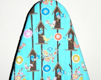 Tabletop Ironing Board Cover - Bird House fabric in turquoise blue, pink, orange, brown and yellow