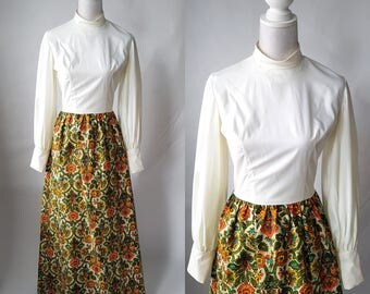 Vintage 1960s Cotton White & Floral Maxi Dress
