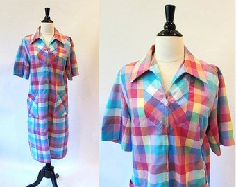 On sale Casual Dress, Large Size Vintage,  Beach Dress, 60s Shift Dress, Cotton House Dress