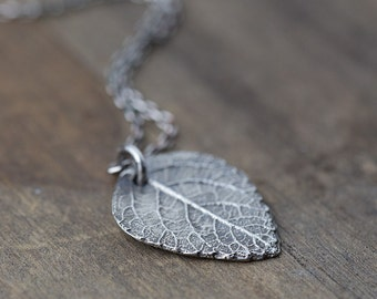 Rustic Leaf Necklace in Sterling Silver • Botanical Woodland Nature Inspired Jewelry • Nature Lover Gift • Handmade Jewelry by Burnish