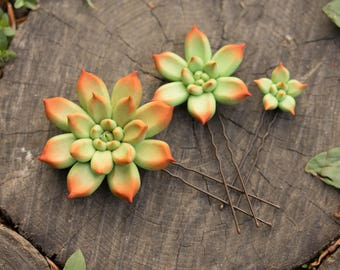 Green Red Succulent Hair Pins Hairpin Set Polymer Clay Bobby Pins Hair Decoration Accessory Women Handmade Decoration Wedding Bridal Hair