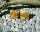 WOODEN CUFFLINKS Square Spalted APPLE Wood Handcrafted Wooden Cufflinks