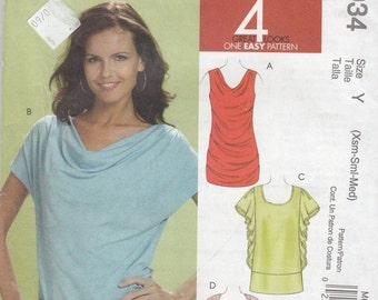 CLEARANCE Cowl Shawl Neck Tops  - Short Sleeveless or Sleeveless -  Women's Size 4-14 - UNCUT Sewing Pattern McCall's 6034