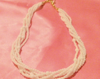 Vintage NAPIER White Multi Twisted Strand Beaded Necklace