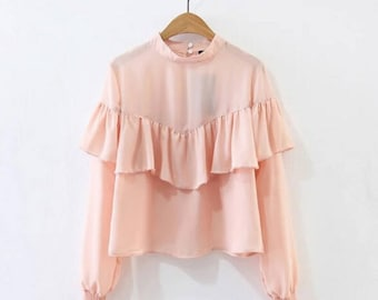 Handmade Pink Ruffle blouse, Women Ruffle Blouse, Chiffon blouse, Long-sleeved pink blouse, Pink shirt, ruffled shirt, long sleeves shirt