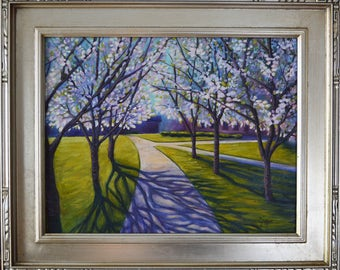STUDIO SALE // Oil Painting - Cherry Lane, Historic Judson College, Marion, Alabama