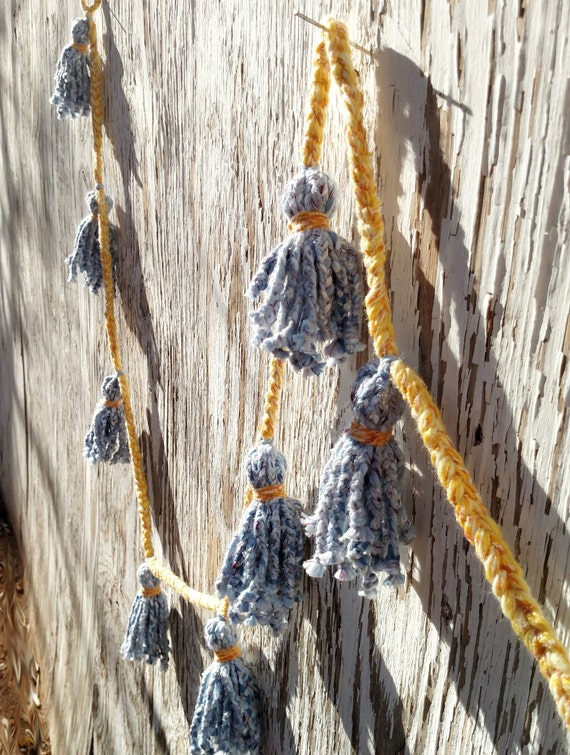 Hand Braided Yarn Tassel Garland in Denim Blue and Yellow - 104 inches