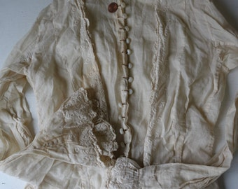 Antique Victorian Edwardian Blouse Milk 20 Glass Buttons