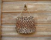 RESERVED FOR ALISON     Vintage Faux Leopard Fur Purse Garay Handbag 1960s