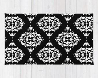 Diamond Damask Print Rug, Area Rug, 16 Color Options, Modern, Victorian Ornament, Geometric, Minimalist, Black White Contemporary Vintage