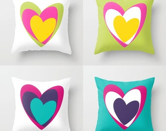 HEARTS Throw Pillow, 4 Bright Color Options, Indoor, Outdoor, Cushion, Toss, Modern Bedding, White Purple Fuchsia Yellow Green Turquoise