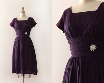 CLEARANCE vintage 1950s dress // 50s purple evening prom dress