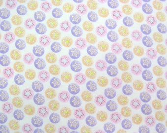 Flannel Fabric by the Yard in a Pink, Purple and Yellow Soft Stars Print 1 Yard