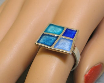 Sterling Silver Blue Enamel Ring, Size 6.50