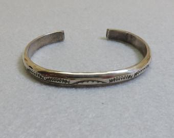 Native American Sterling Cuff  Bracelet, Vintage, Stamped Design