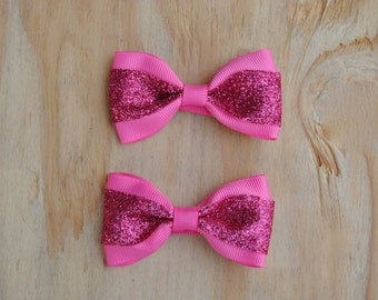 Baby Hair Bows, Pigtail Bows, Glitter Pink bow set, No slip Baby Hair Bows, Toddler Hair Bows, 2 inch hair bows