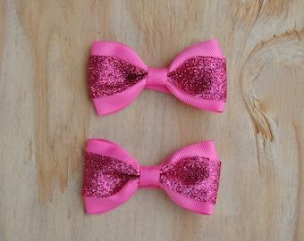 Baby Hair Bows, Bow tie hair bows,  Pigtail Bows, Glitter Pink bow set, No slip Baby Hair Bows, Toddler Hair Bows, pink baby bow