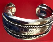 Lovely Wide Etched Silver Tone Metal Cuff Bracelet