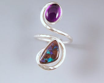 Amethyst & Boulder Opal- Hammered Sterling Silver Swirl- Adjustable Ring- February Birthstone- Boho Chic- Double Stone Ring