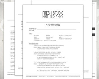 Photography Forms - 5 Essential Contracts and Order Form Templates - Fresh Studio Collection