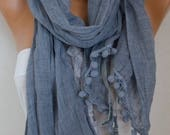 ON SALE --- Gray Cotton Lace Scarf,Wedding Shawl Cowl Scarf Gift Ideas for Her Bridesmaid Gift Women Fashion Accessories Women scarves