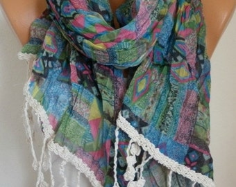ON SALE --- Southwestern Cotton Scarf, Summer, Aztec, Tribal Scarf Shawl Cowl Scarf Geometrical Print Gift Ideas For Her Women Fashion Acces