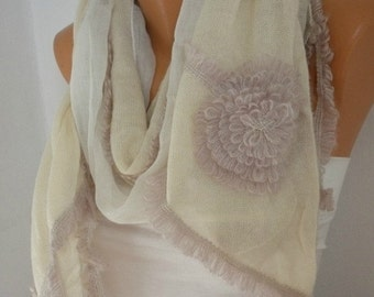 ON SALE --- OOAK Scarf,Ivory Knitted Scarf, Fall Winter Accessories, Shawl, Cowl Scarf Bridal Accessories Gift Ideas For Her Women's Fashion