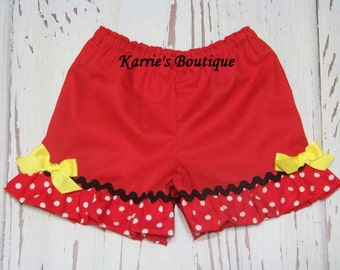 Boutique Ruffle Shorts or Pants / Red + Black + Yellow / Minnie Mouse / Disney Vacation / Birthday / Newborn / Baby / Girl / Toddler