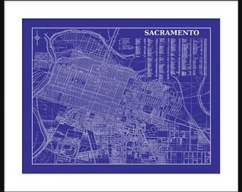 Sacramento Street Map  - 1938 Street Map Vintage Print Poster - Blue
