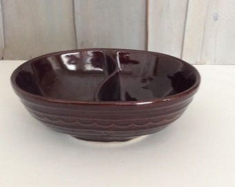 Vintage Marcrest Daisy Dot Divided Serving Bowl / Brown Earthenware Serving Bowl /Stonewate  Divided Dish