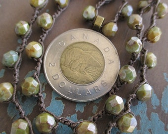 Polar bear coin crochet necklace - Priceless - rustic earthy green crocheted genuine coin winter boho by slashKnots