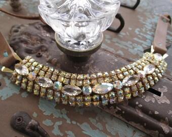 Antique rhinestone leather choker necklace - MARGO - casual statement bohemian boho by slashKnots