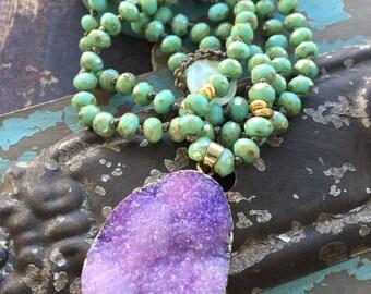 Knotted purple druzy drusy necklace - Meadow - celedon mint green spring long necklace boho by slashKnots